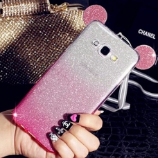 Cute Ears Gradient Glitter 2 in 1 Transparent Soft Back Cover for Galaxy J7 2016 - Pink